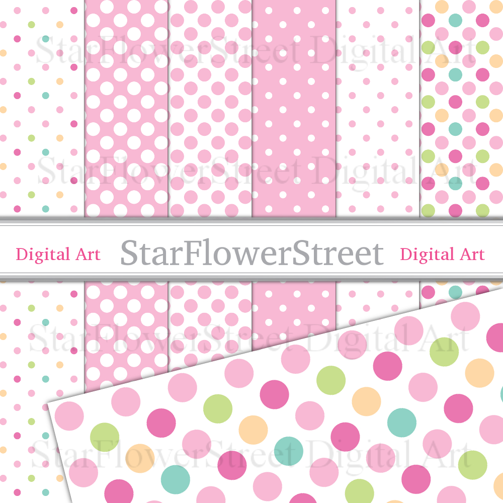 Pink Polka Dot Digital Paper