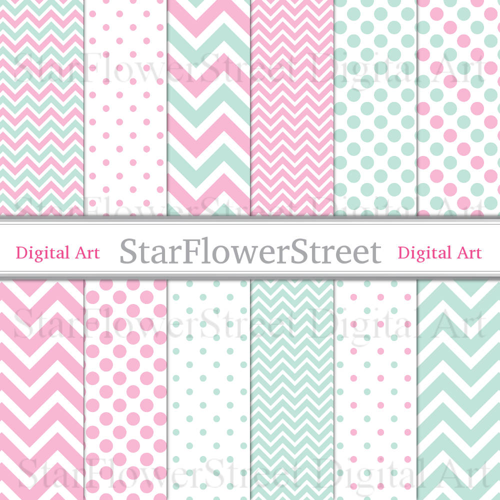 Chevron and Polka Dot Digital Paper in Aqua and Pink Scrapbook Background for Girls