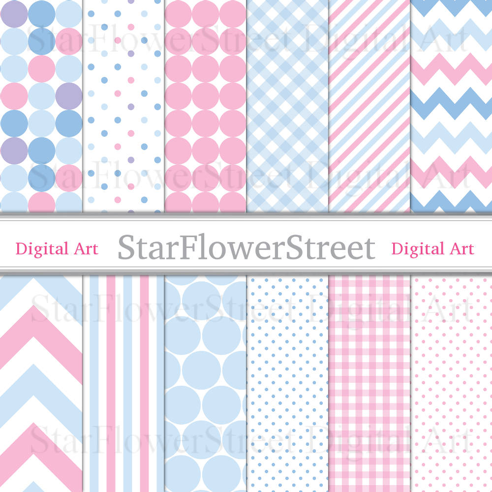 Pink and Blue Digital Patterned Paper
