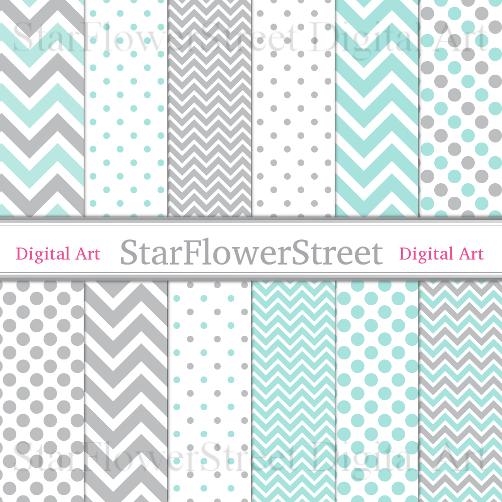 Chevron & Polka Dot, Mint & Gray Digital Paper Scrapbook Background