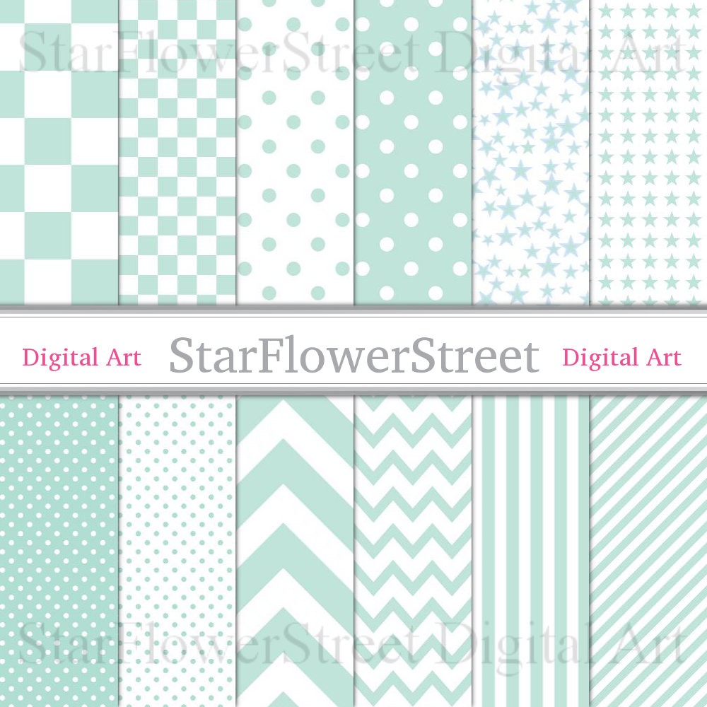 Mint Green Baby Digital Paper