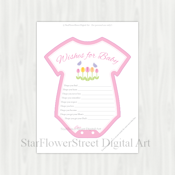 Printout - Spring baby shower decorations, wishes, garden and butterfly.