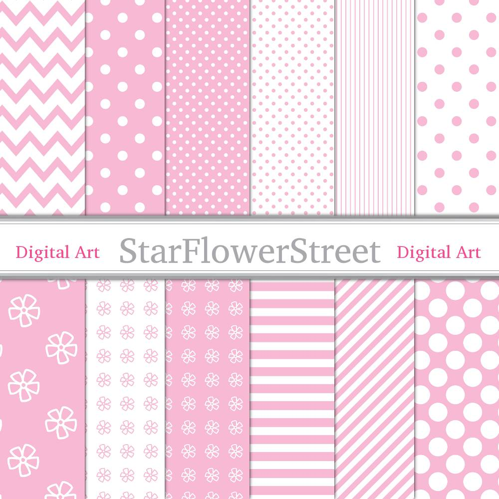 Pink Baby Girl Digital Paper Printable Patterns